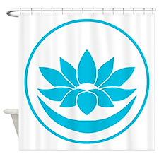 Buddhist Lotus Blue Shower Curtain