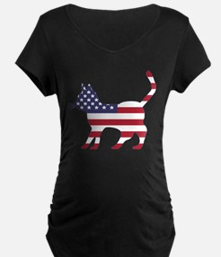 US Flag Cat Icon Maternity T-Shirt