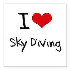 "I love Sky Diving Square Car Magnet 3"" x 3"""