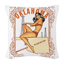 Vintage Oklahoma Pinup Woven Throw Pillow