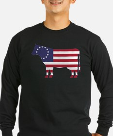 Betsy Ross Flag Cow Icon Long Sleeve T-Shirt
