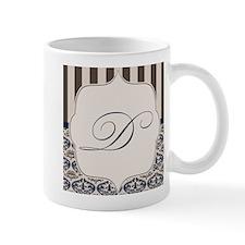 Gold and Navy Damask Monogram D Mug