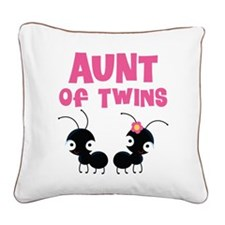 Aunt of Twins Square Canvas Pillow