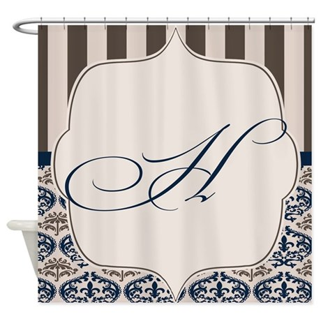 Gold And Navy Damask Monogram H Shower Curtain By NoteableHomeGoods
