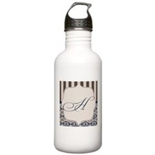 Gold and Navy Damask Monogram H Water Bottle
