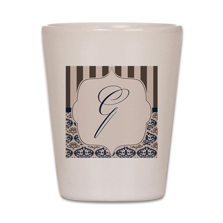 Gold and Navy Damask Monogram G Shot Glass