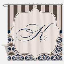 Gold and Navy Damask Monogram K Shower Curtain
