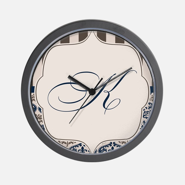 Gold and Navy Damask Monogram K Wall Clock