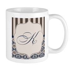 Gold and Navy Damask Monogram K Mug