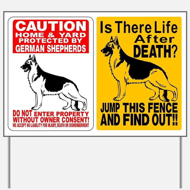 2 German Shepherd Dog Signs Yard Sign