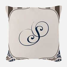 Gold and Navy Damask Monogram S Woven Throw Pillow