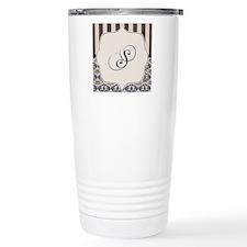 Gold and Navy Damask Monogram S Travel Mug