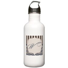 Gold and Navy Damask Monogram W Water Bottle