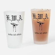 K.W.A knittaz wit attitude Drinking Glass