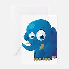 Blue Cartoon Elephant Greeting Card