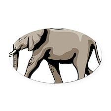 Gray Elephant Oval Car Magnet