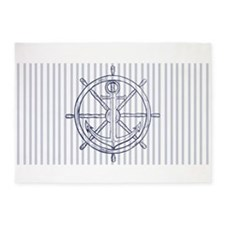 Nautical Anchor on Grey Stripe 5'x7'Area Rug