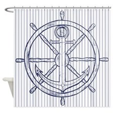 Nautical Anchor on Grey Stripe Shower Curtain