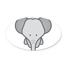 Gray Baby Elephant Oval Car Magnet