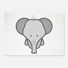 Gray Baby Elephant 5'x7'Area Rug