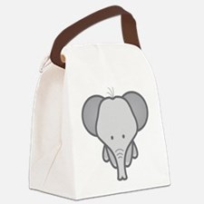 Gray Baby Elephant Canvas Lunch Bag