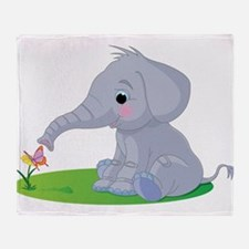 Baby Elephant with Flower Throw Blanket