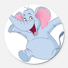 Happy Elephant Round Car Magnet