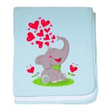 Elephant with Hearts baby blanket