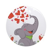Elephant with Hearts Ornament (Round)