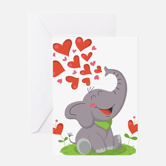 Elephant with Hearts Greeting Card