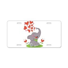 Elephant with Hearts Aluminum License Plate