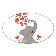 Elephant with Hearts Decal