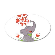Elephant with Hearts Wall Decal