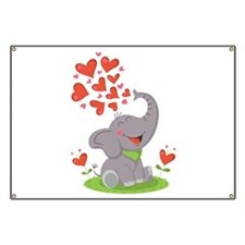 Elephant with Hearts Banner