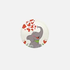 Elephant with Hearts Mini Button (10 pack)