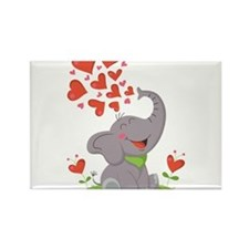 Elephant with Hearts Rectangle Magnet