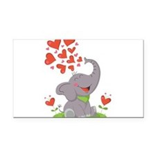 Elephant with Hearts Rectangle Car Magnet