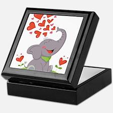 Elephant with Hearts Keepsake Box