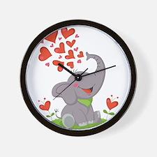 Elephant with Hearts Wall Clock