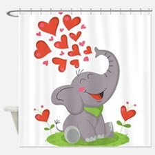 Elephant with Hearts Shower Curtain