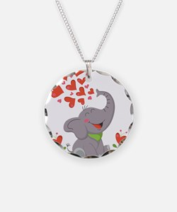 Elephant with Hearts Necklace