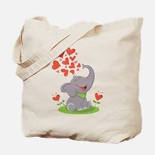 Elephant with Hearts Tote Bag