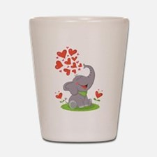 Elephant with Hearts Shot Glass