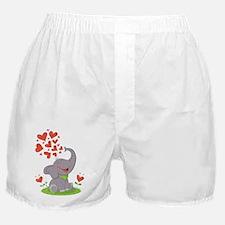 Elephant with Hearts Boxer Shorts