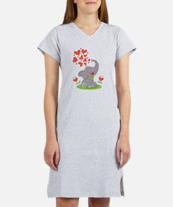 Elephant with Hearts Women's Nightshirt
