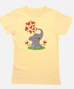 Elephant with Hearts Girl's Tee