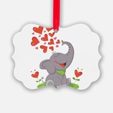 Elephant with Hearts Ornament