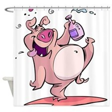 Drunk Pig Shower Curtain