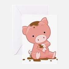 Pig in Mud Greeting Cards (Pk of 20)