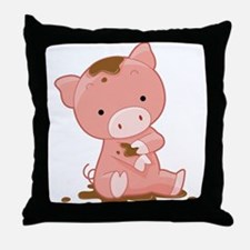 Pig in Mud Throw Pillow